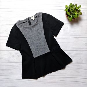 J. Crew Black and Gray Peplum Shirt Blouse Small